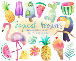 Tropical Clip Art - Watercolor Summer Clipart Set, Vector Clipart ...