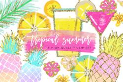 Tropical Clip Art, Watercolor Summer Clipart, Pineapple Summer ...