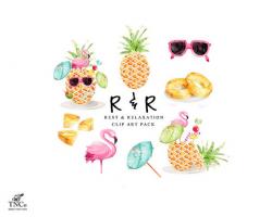Pineapple clip art flamingo digital download Tropical