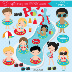 Pool Party clipart, Summer clipart, Pool clipart, Water slide ...