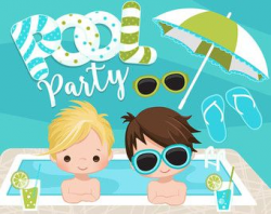 Beach Fun Clipart for Boys Summer is here! Perfect Beach party set ...