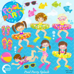 Girl Pool Party Clipart, Beach party, Birthday Party Clipart ...