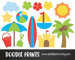 Digital Clip Art Printable Beach Clipart Surf Clipart
