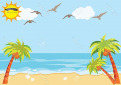 Best Free Sandy Beach Clipart Sunny Drawing - Vector Art Library
