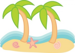 Beach Clipart Image - Palm Trees on a Sandy Beach with Seashells and ...