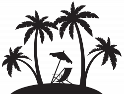 Palms and Beach Chair Silhouette PNG Clip Art   Gallery ...