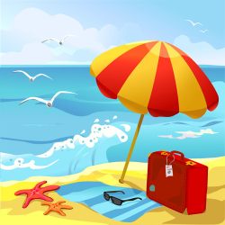 Summer clipart summer background - Pencil and in color summer ...