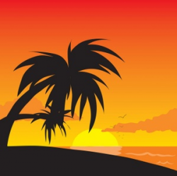 Tropical Clipart Image - Tropical Sunset on the Beach with Palm ...