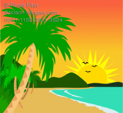 Clipart Illustration of Tropical Sunset on the Beach With Palm Trees