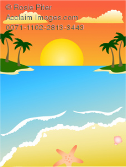 Clipart Illustration of Sunset on a Tropical Beach