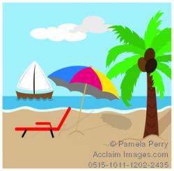 Clip Art Image of a Tropical Beach With a Sailboat, Beach Umbrella ...