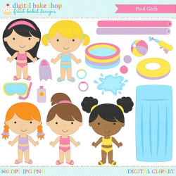 pool party digital clipart clip art girls swimsuit toys summer ...