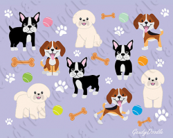 Dogs Clipart Beagle Bichon Frise Boston Terrier by GaudyDoodle ...