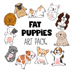 Fat Puppies Clip Art—11 Digital Files | Fat puppies, Pug cartoon and ...