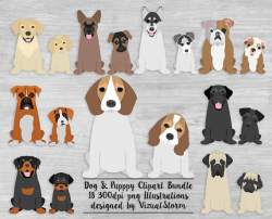 Puppy Dog Clipart Bundle Puppies and Dogs Digital Dog Scrapbooking ...