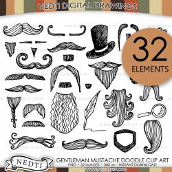Gentleman Doodle Clip Art Mustache Hat Beard Pipe Clipart