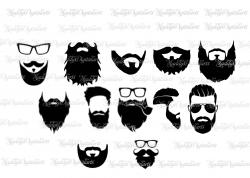 Beard SVG Bundle, Beard clipart, Beard cut files, Hipster svg files ...