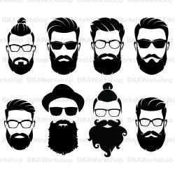 Beard man svg - Beard man face svg - Beard man face digital clipart ...