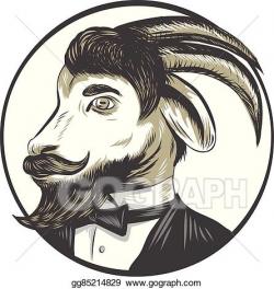EPS Illustration - Goat beard tie tuxedo circle drawing. Vector ...