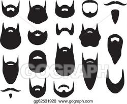 Vector Stock - Set of beard silhouettes. Clipart Illustration ...
