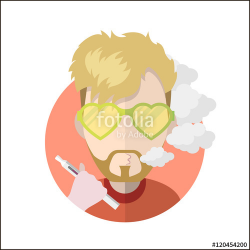 Avatar vape profile picture flat icon, vaping people character ...