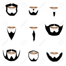 4695228-Beard-and-facial-hair-styles-in-vector-silhouette-Stock ...