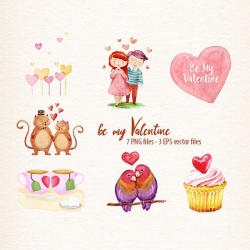 Watercolor vector love clipart, valentine vector clipart Beautiful ...