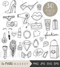Hand Drawn Beauty Clip Art Set, Glam Clipart Set, Beauty Blogger Icons,  Hand Drawn Fashion Clipart, Hand Drawn Makeup Illustration Set