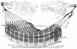 antique hammock illustration, black and white clip art, jacquard ...