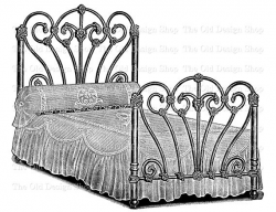 Vintage Bed Clip Art Printable Furniture Illustration Digital Stamp ...