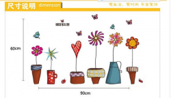Cartoon wall stickers wall corner potted plant dormitory bedroom ...