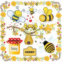 Bees Clip Art-Bumble Bee Beehive Clip Art-Buzzy Bee Clip art-Honey ...