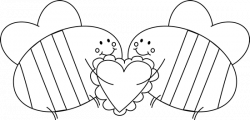 Black and White Valentine's Day Love Bees Clip Art - Black and White ...