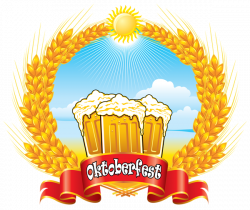 Oktoberfest Red Banner with Beer Mugs and Wheat PNG Clipart Picture ...
