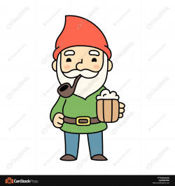 Clipart Gnome Sitting On A Mushroom Royalty Free Vector Illustration ...