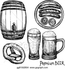 Vector Art - Beer sketch decorative icon set. Clipart Drawing ...