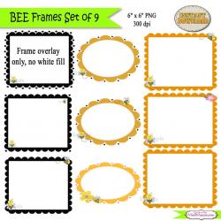 Bee Frames Clip Art, Bee Clipart, Frame Art, Summer Clip Art, Digital PU /  CU- SET of 9