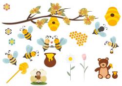 Honey bee clipart,Honey bee clip art,Bee Family illustration digital ...