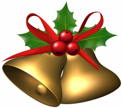 Large Christmas Bells with Holly PNG Clip Art Image | Gallery ...