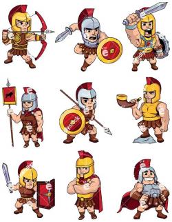 Roman Soldiers And Centurions Vector Cartoon Clipart - FriendlyStock ...