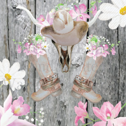 Watercolor Western Boho Cowgirl Boots boots belt longhorn clipart ...