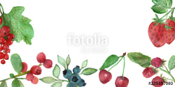 Watercolor berries, banner with green leaves and cranberry ...