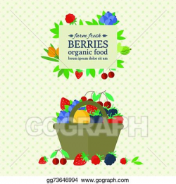 Vector Art - Banner with fresh berries and fruit. EPS clipart ...