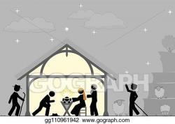 Vector Stock - Birth of christ near the city of bethlehem ...