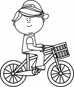 Black & White Girl Riding a Bicycle with a Basket Clip Art - Black ...
