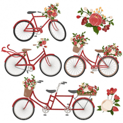 Emma Floral Bicycle Clipart & Vectors in Christmas - christmas ...