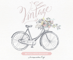 Vintage bicycle with floral bouquet clipart / Wedding