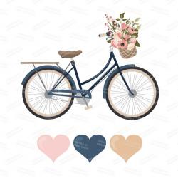 Floral Bicycle Set in Navy & Blush by Amanda Ilkov - Mandy Art ...