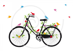 Vintage bicycle with birds, leaves and flowers, digital clip art ...