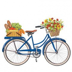bikes with flowers clip art | ... in the back basket on this bicycle ...